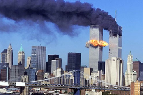 Image of Twin Towers on September 11th 2001