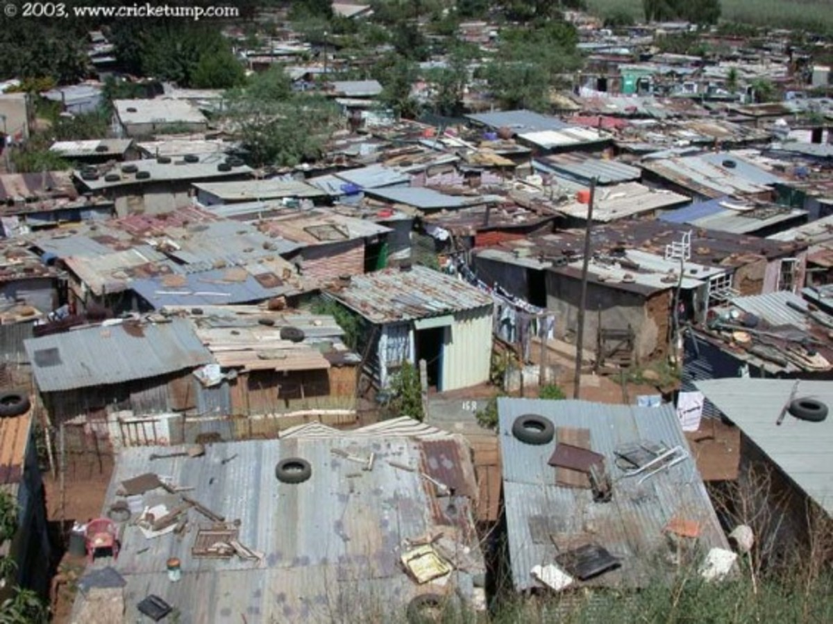 A rooftop view of some of the shanties in South Africa - Kliptown