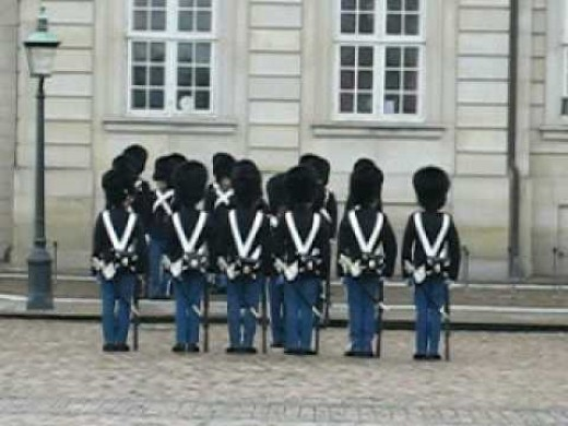 The changing of the guards at Amalienborg Castle.