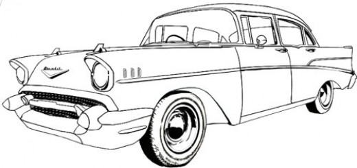 1957 Chevy Bel Air Drawings Sketch Coloring Page