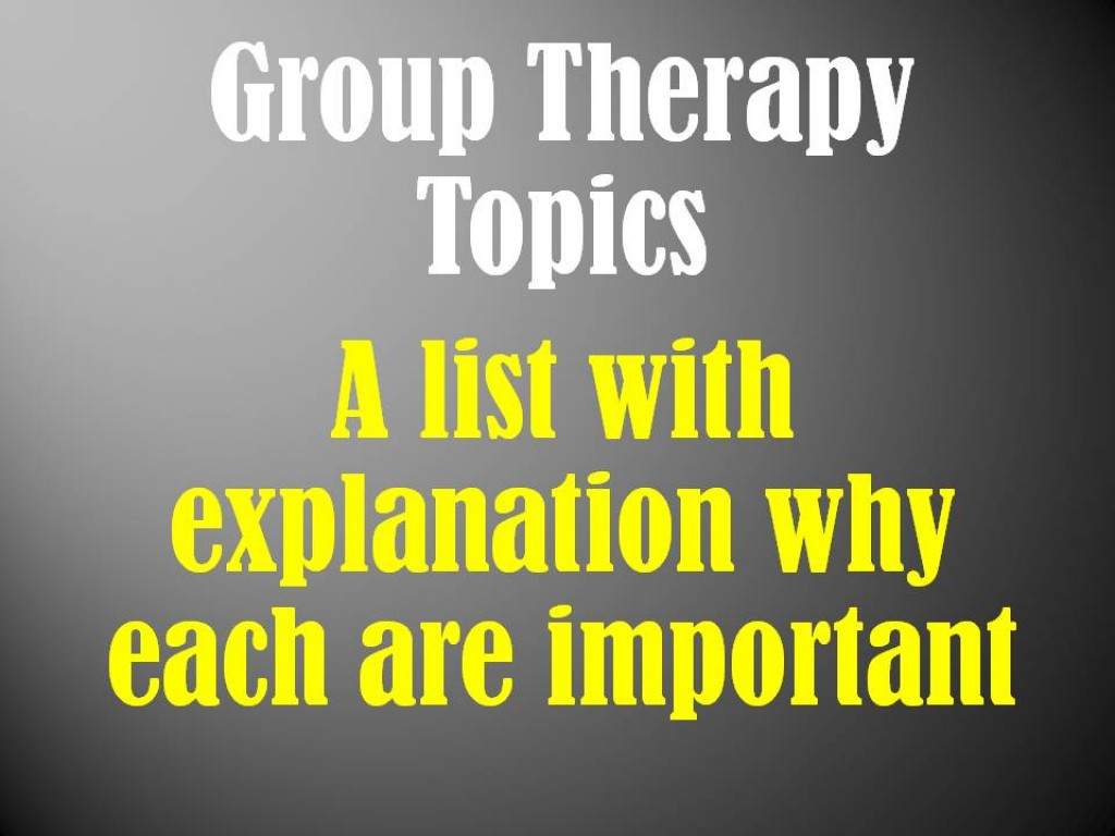 Group Therapy Topics Mental Health Educational Activities