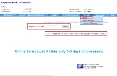 How to Apply Salary Loan Online in Social Security System ...