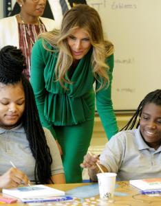 First lady melania trump watches as eight grade art students paint at excel academy public charter school in washington april also what   doing now visited dc rh ibtimes