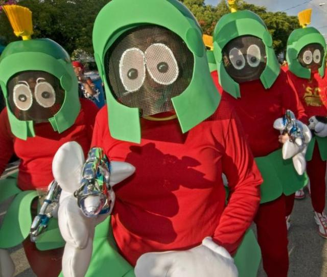 People Dressed As Marvin The Martian Stroll In The Fantasy Fest Masquerade March In Key West