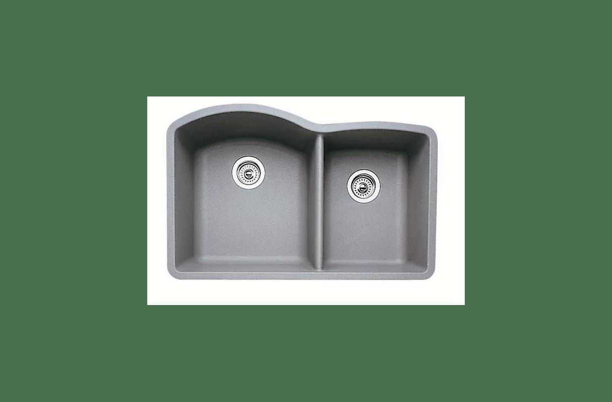 blanco undermount kitchen sinks make overs 440178 metallic gray diamond 32 quot double basin