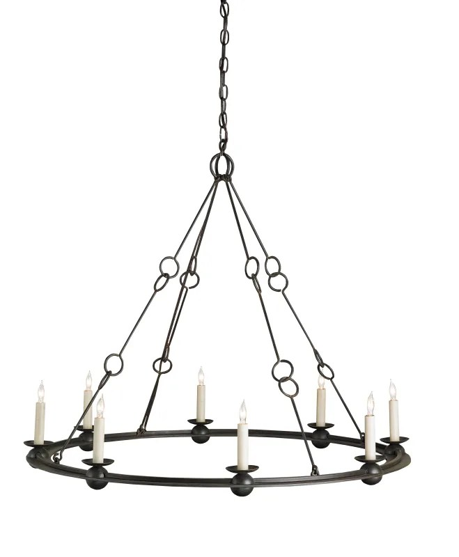Currey and Company 9366 Old Iron Rooney 8 Light Chandelier