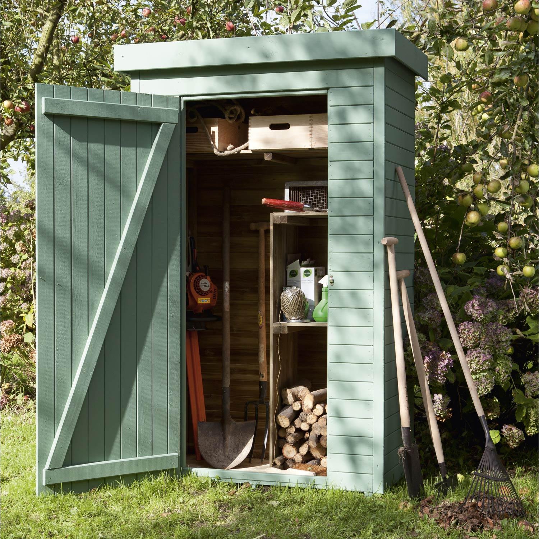 armoire de jardin bois helka naturelle l 131 x h 197 x p 69 cm