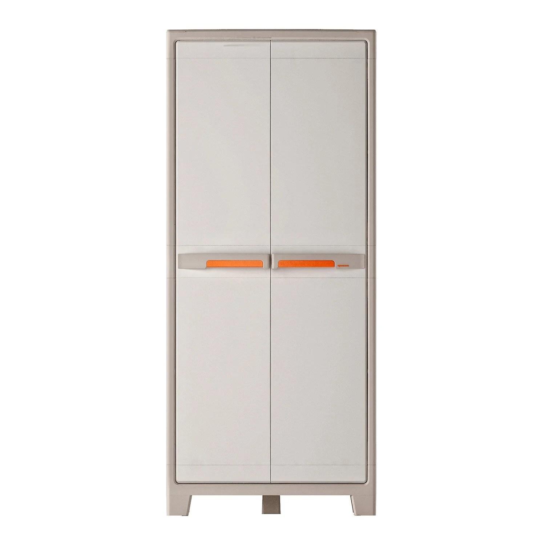 armoire haute resine 5 tablettes spaceo premium l 80 x h 182 x p 44 cm