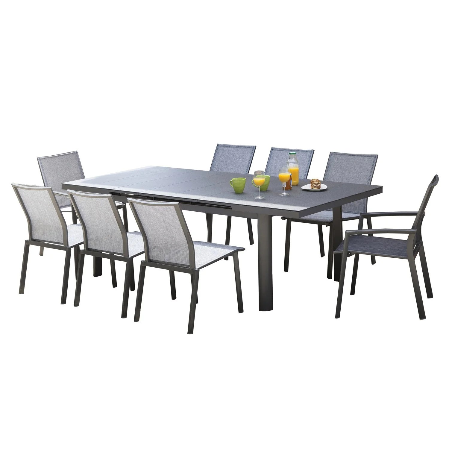 Table de jardin Bora rectangulaire gris 8 personnes  Leroy Merlin
