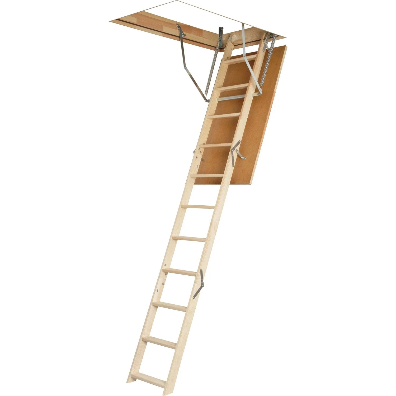 Escalier escamotable droit structure bois marche bois  Leroy Merlin