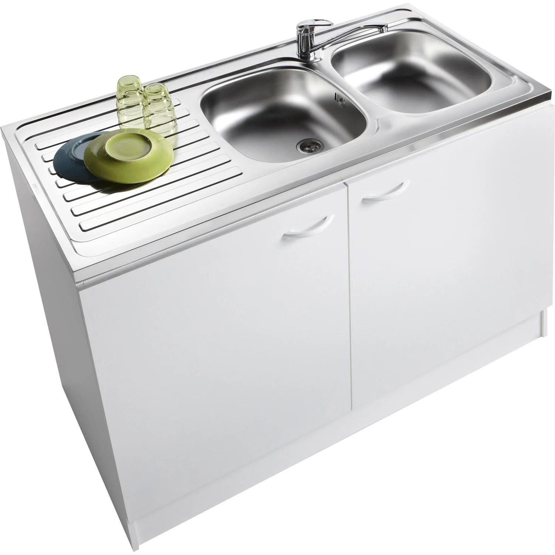 Meuble de cuisine sousvier 2 portes blanc h86x l120x p60cm  Leroy Merlin