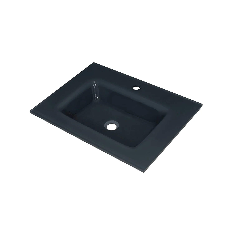 plan vasque simple storm verre trempe 61 cm