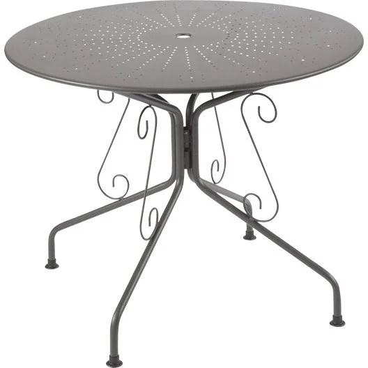 Table de jardin Romantique ronde gris graphithe 4 personnes  Leroy Merlin