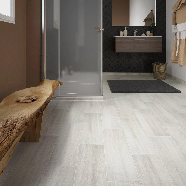 carrelage sol et mur blanc effet bois helsinka l 20 x l 60 cm