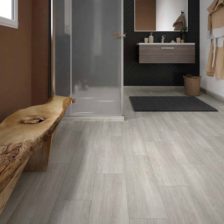 Carrelage sol et mur gris perle effet bois Helsinka l20 x L60 cm  Leroy Merlin