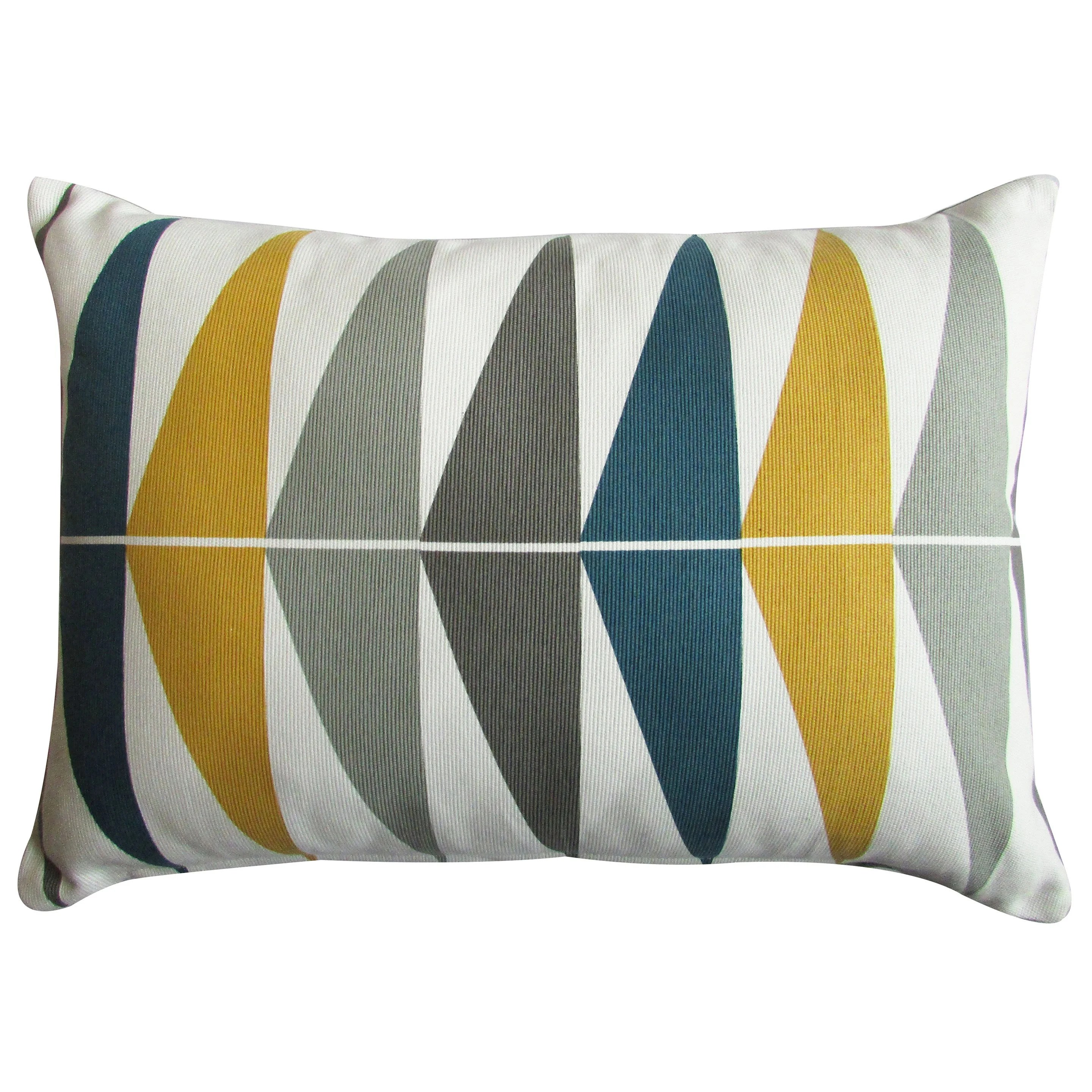 coussin triangles inspire bleu moutarde l 50 x h 35 cm