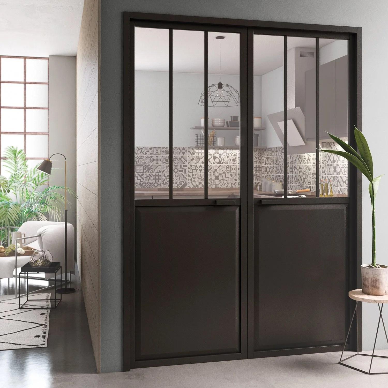 Bloc Porte Atelier Laquée Noir Artens H 204 X L 146 Cm