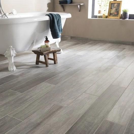 Carrelage sol et mur gris effet bois Way l15 x L90 cm  Leroy Merlin