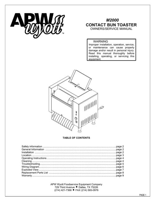 small resolution of apw wyott m 2000 service manual