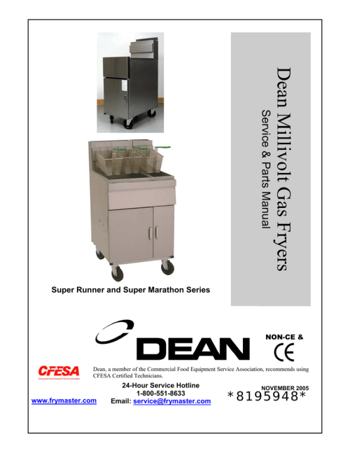 small resolution of dean millivolt gas fryers service parts manual