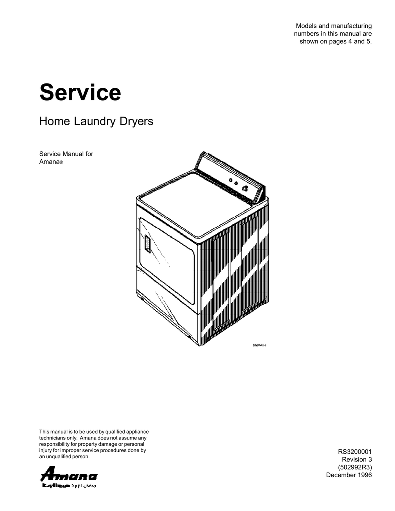 Amana Gas and Electric Dryer Service manual