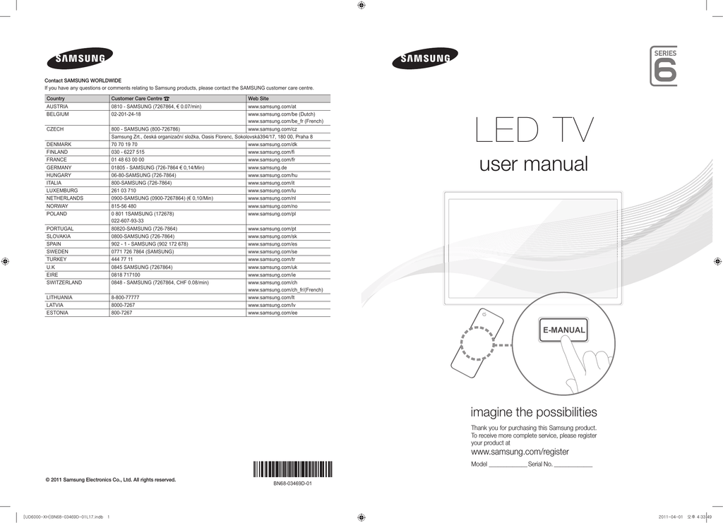 Samsung UE40D6000 User manual