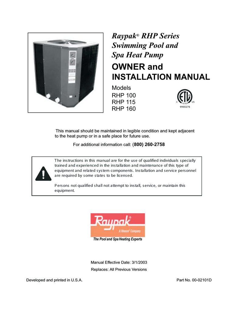 medium resolution of raypak rhp160 installation manual