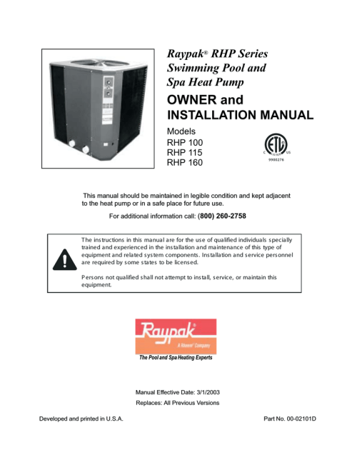 small resolution of raypak rhp160 installation manual