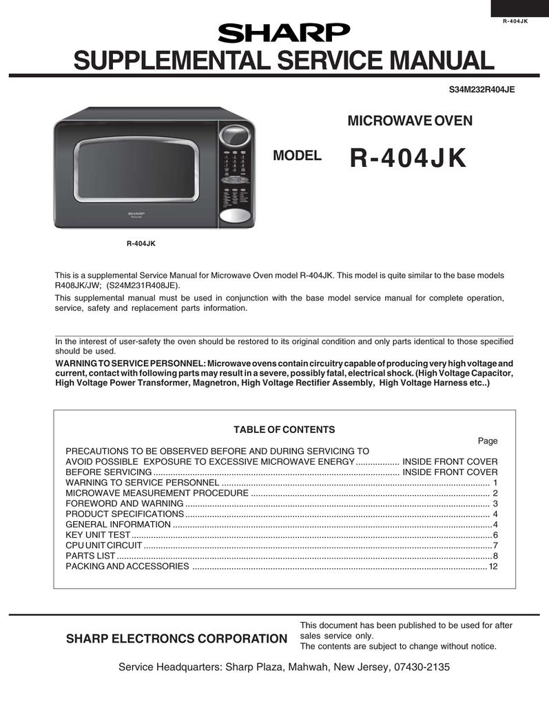 sharp r 404jk service manual manualzz