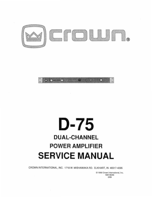 small resolution of crown d 75a service manual