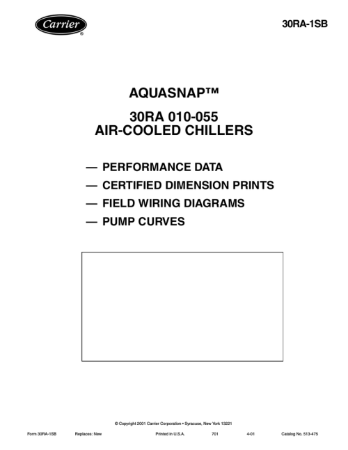 small resolution of carrier 30ra chiller wiring diagram aquasnap 30ra 010 055 air cooled chillers