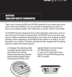 nlp254s shallow nautic subwoofer thank you for choosing the mb quart nlp254s subwoofer for your marine audio sound system with proper installation you are  [ 791 x 1024 Pixel ]