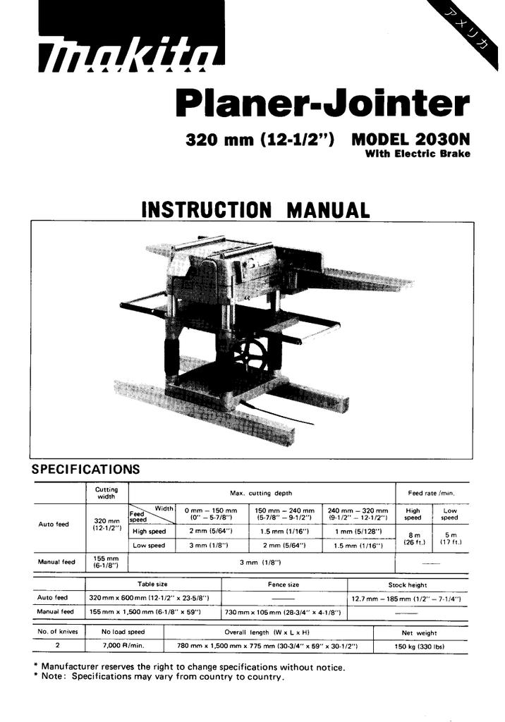 Makita Planer Jointer Model 2030 Manual