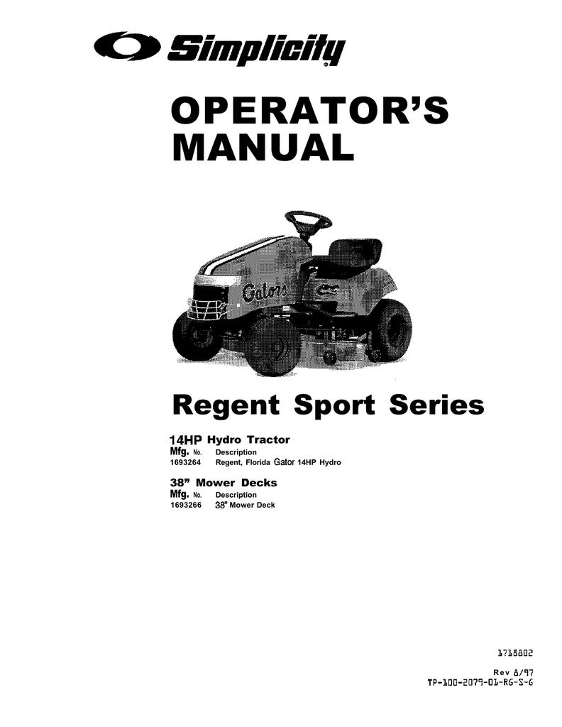 simplicity regent 14 wiring diagram gooseneck trailer brake 1693264 operator s manual manualzz com