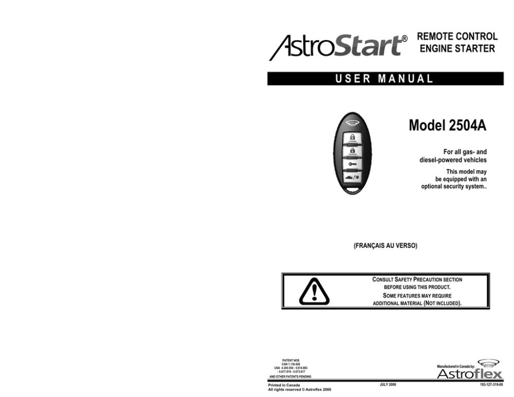 medium resolution of astrostart 2504a user manual remote control engine starter