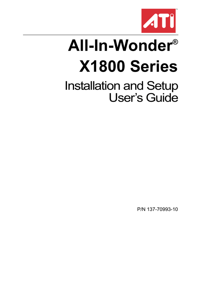 ATI Technologies All-In-Wonder X1800 Series User`s guide