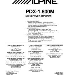 alpine pdx 1 600m amplifier owner s manual [ 791 x 1024 Pixel ]