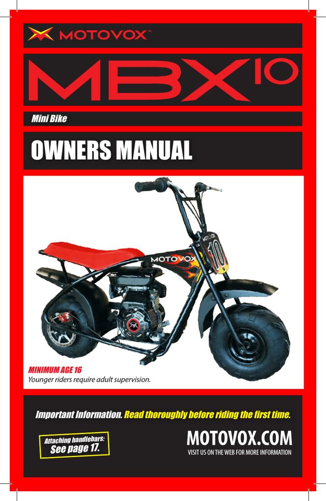 Motovox Mini Bike Parts : motovox, parts, Motovox, MBx10, Specifications, Manualzz