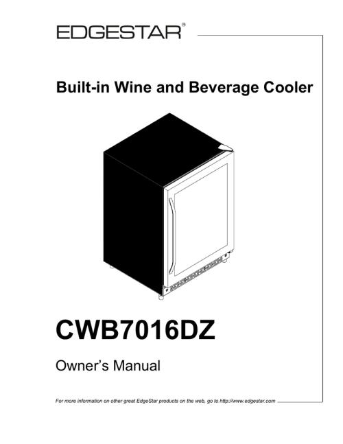 small resolution of edgestar cwb7016dz owner s manual