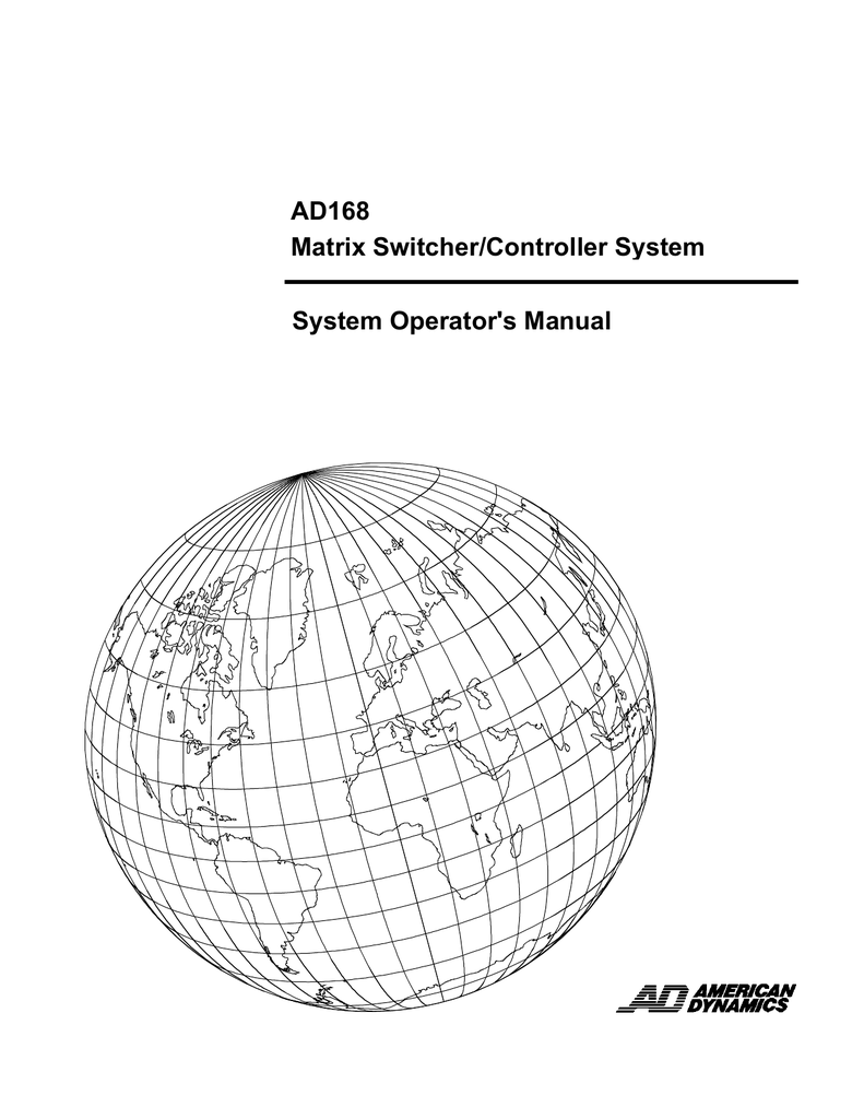 American Dynamics AD TOUCH TRACKER Operator`s manual