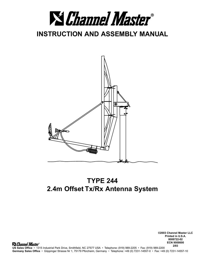 INSTRUCTION AND ASSEMBLY MANUAL TYPE 244 2.4m Offset Tx