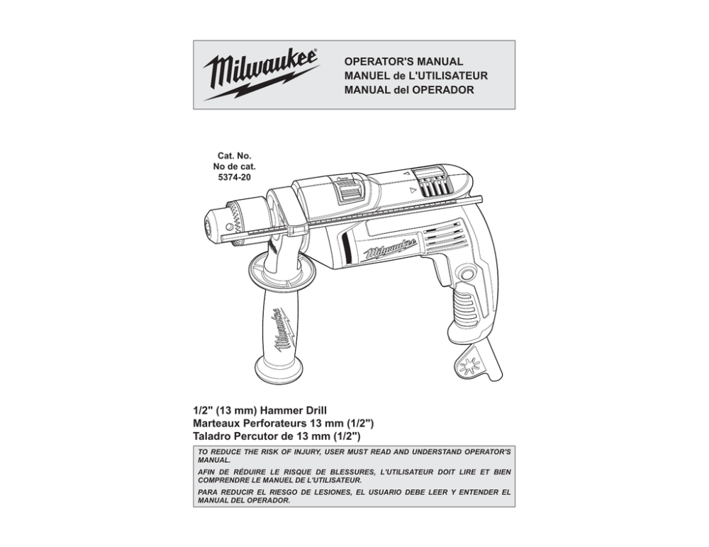 medium resolution of milwaukee 5374 20 operator s manual