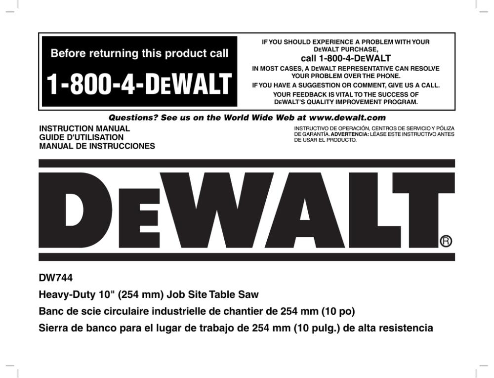 medium resolution of dewalt dw744 instruction manual