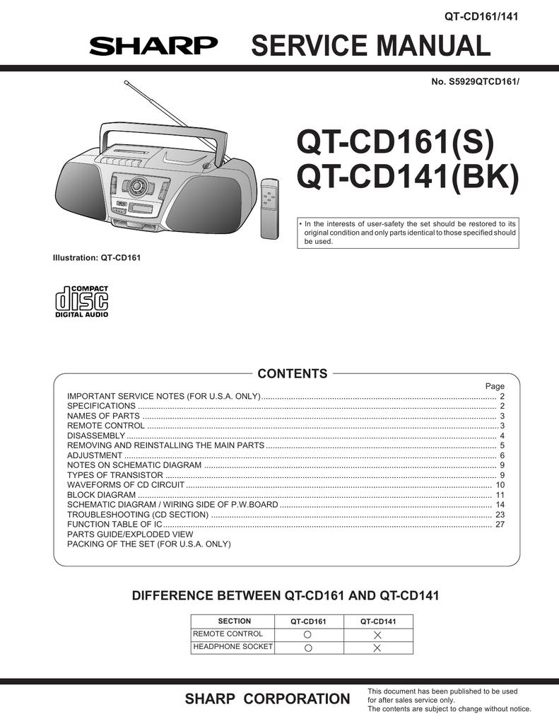 medium resolution of sharp qt cd161h service manual