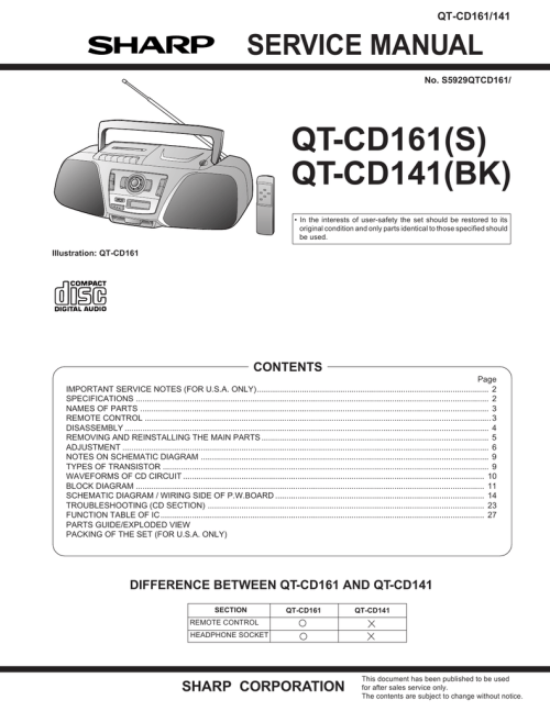 small resolution of sharp qt cd161h service manual