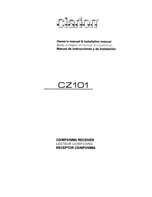 small resolution of clarion cz101 owner s manual manualzz com rh manualzz com clarion cz100 wiring harness diagram clarion vz401 wiring diagram