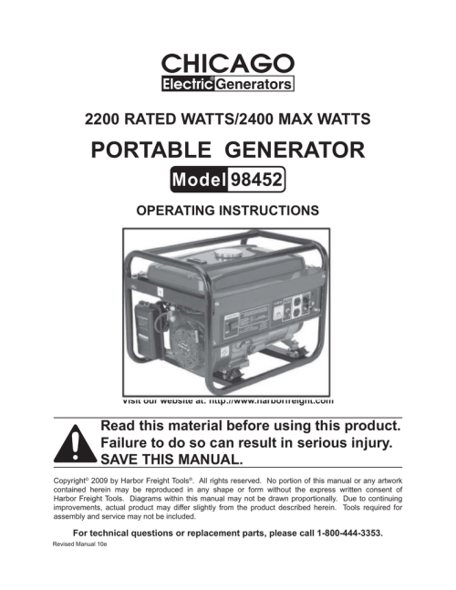 small resolution of chicago electric 98452 operating instructions