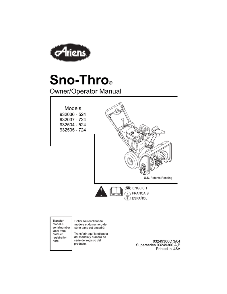 Ariens 932037 724, 932036 524, 932504 Specifications