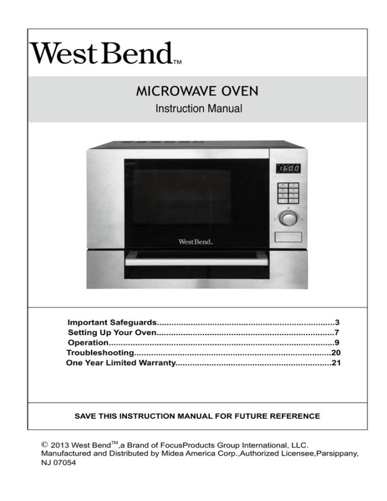 west bend microwave oven instruction