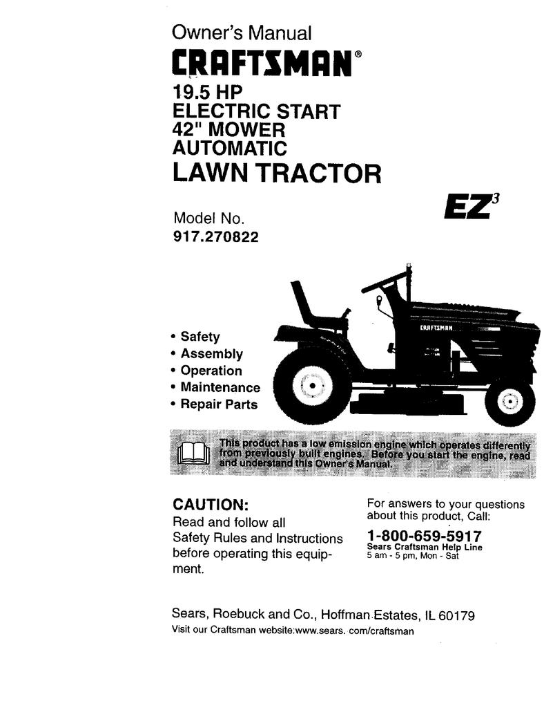 Craftsman Riding Mower Steering Problems : craftsman, riding, mower, steering, problems, Craftsman, TRACTOR, 917.270822, Owner`s, Manual, Manualzz